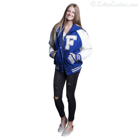 White Leather & Royal Blue Wool Zipper Hood Letter Jacket