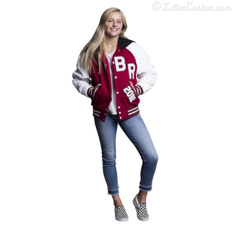 White Leather & Cardinal Red Wool Varsity Letter Jacket