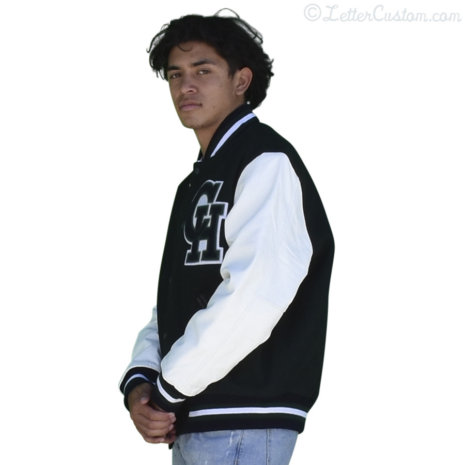 White Leather Hunter Green Wool Varsity Letter Jacket