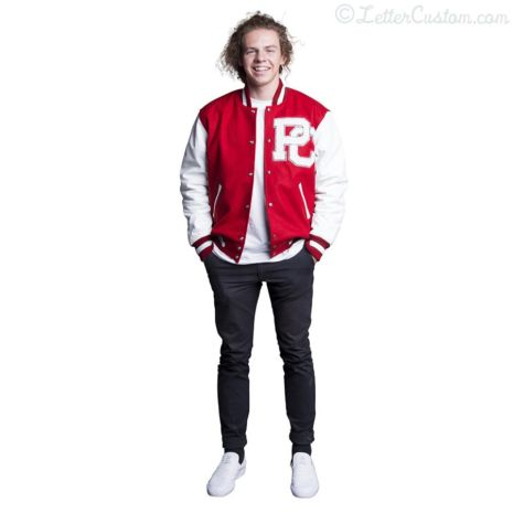 White Leather & Scarlet Red Wool Varsity Letter Jacket