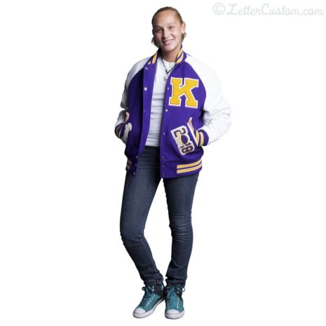 White Leather & Violet Purple Gold Wool Varsity Letter Jacket