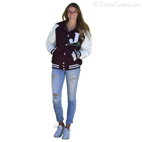 White Leather Maroon Wool Varsity Letter Jacket