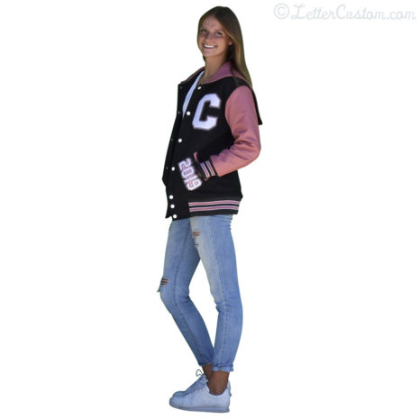Pink Leather Dark Gray Wool Hood Varsity Letter Jacket