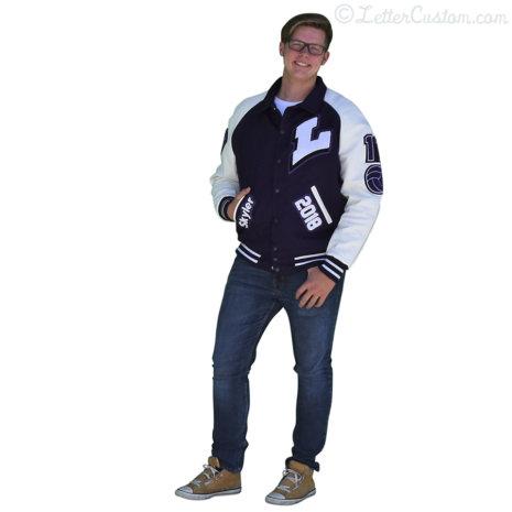 White Leather & Purple Wool Varsity Letter Jacket