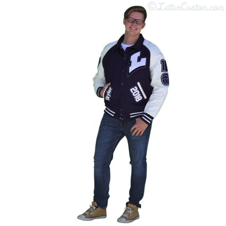 White Leather & Purple Wool Raglan Varsity Letter Jacket
